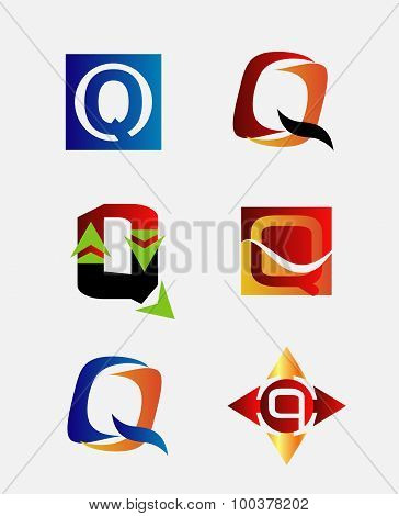 Vector illustration of abstract icons based on the letter Q logo set