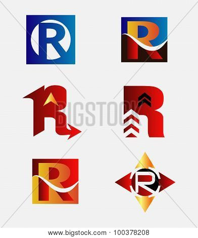 Letter R logo icon template elements