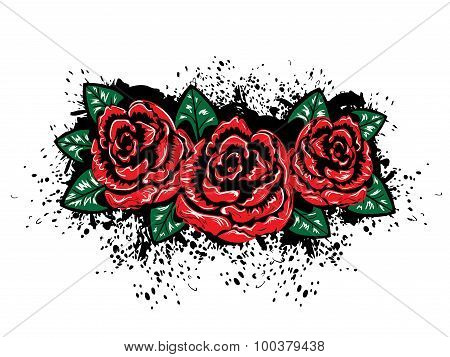 Grunge Roses With Splatters