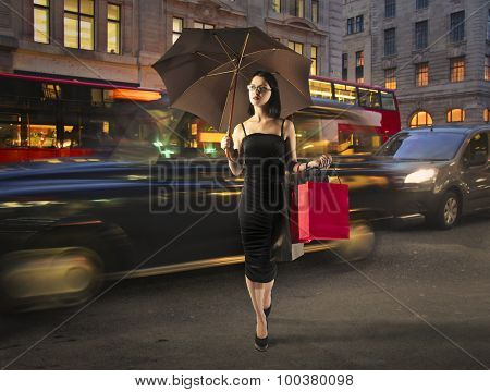Sophisticated woman walking in the street