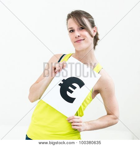 portrait young woman with board euro mark