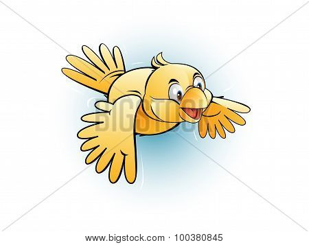 Small yellow bird fly happily
