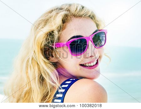 Pretty Woman Beach Vacation Lifestyle Portrait Concept