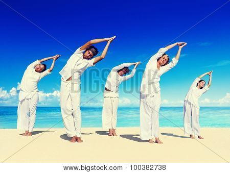 People Healthy Yoga Beach Vacation Relax Concept