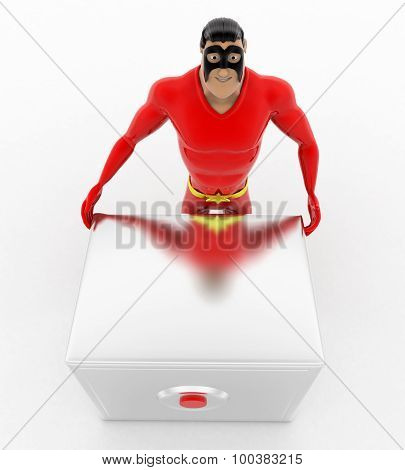 3D Superhero  With Advances Digital Locker Concept