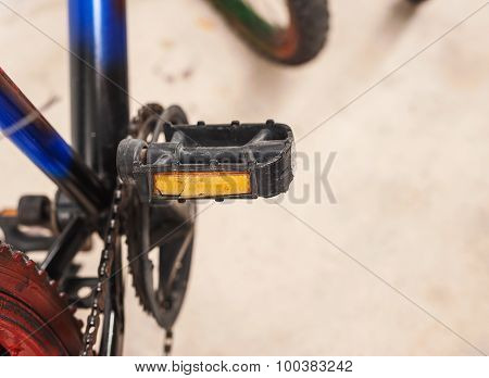 Struggle Of Bicycle Broken On Blur Background