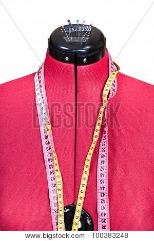 Red Tailor Dummy - Female Model Close Up Isolated