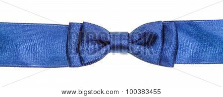 Real Blue Bow Knot On Wide Satin Ribbon Isolated