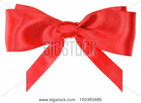 Real Red Silk Ribbon Bow With Vertically Cut Ends