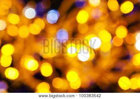 Dark Yellow And Violet Twinkling Christmas Lights