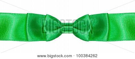 Double Bow Knot On Green Satin Ribbon Close Up