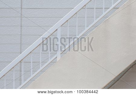 Detail of small apartment building staircase and window