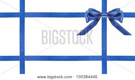 Blue Satin Bows And Ribbons Isolated - Set 26