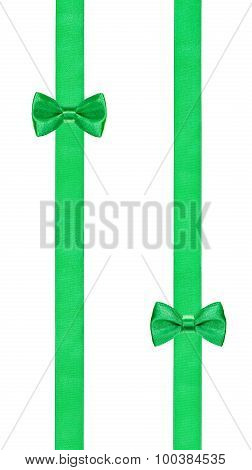 Two Little Green Bow Knots On Two Parallel Ribbons