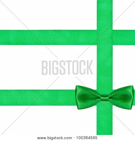 One Big Green Bow Knot On Three Silk Ribbons