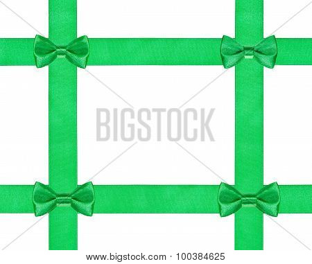 Four Little Green Bow Knots On Four Satin Ribbon