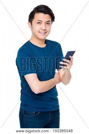 Asian man use of the smartphone