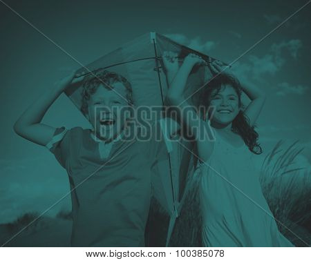 Cheerful Children Playing Kite Outdoors Concept