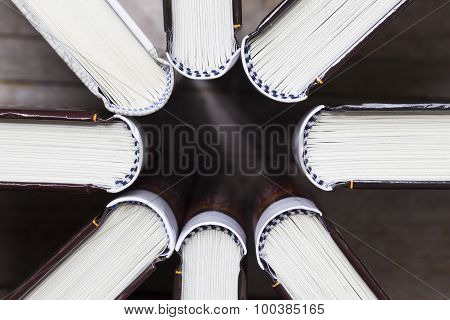 Books On Wooden Planks Background, Top View