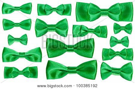 Set Of Various Green Satin Bow Knots Isolated