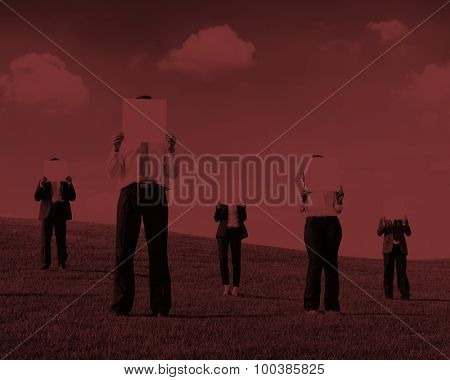 Business People Holding Empty Placard Outdoors
