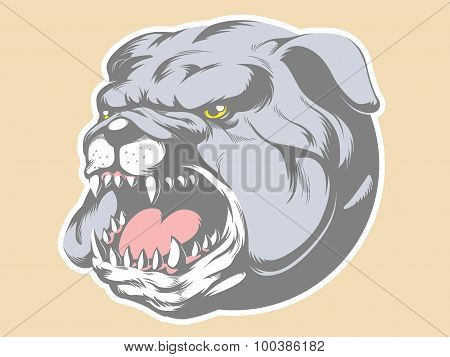 Bull Dog Head Cartoon