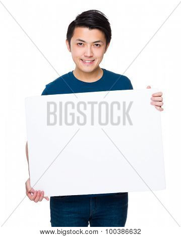 Asian man show with the white board