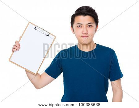 Young man show with the white paper of clipboard
