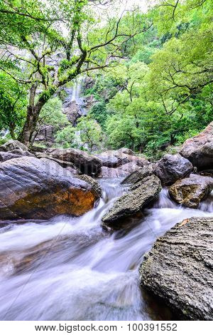 Khlong Lan Waterfall In National Park, Kamphaeng Phet Thailand.