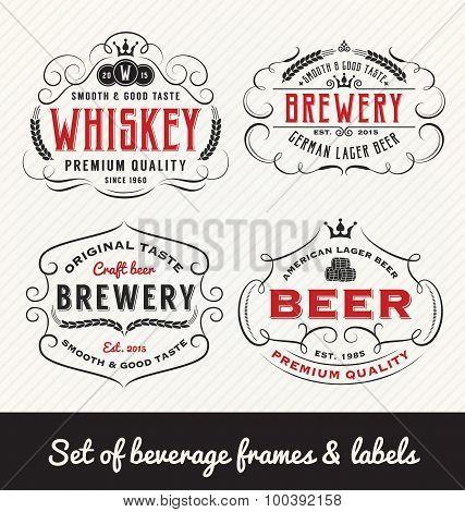 Classic Vintage Beverage Frame And Labels Design