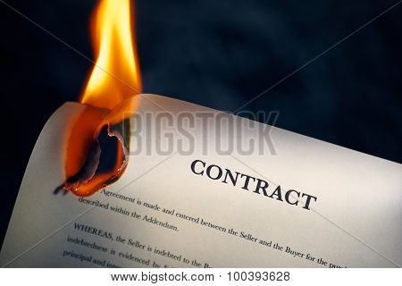 Closeup Of Contract In English Burning On Fire