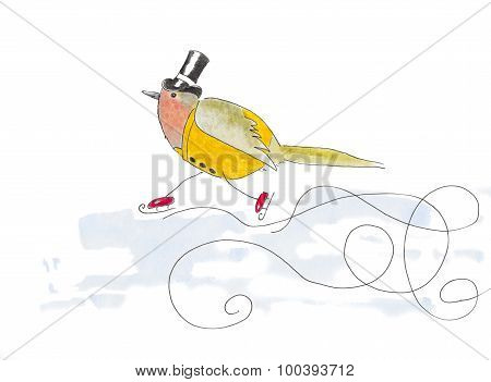 Watercolor Illustration Of A Robin Bird Dressed Up In Old Fashion Clothes And Ice-skating.