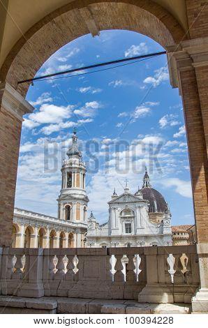 Loreto, June 20, 2015: panoramic still of Loreto main square in the Marche region Ancona province.