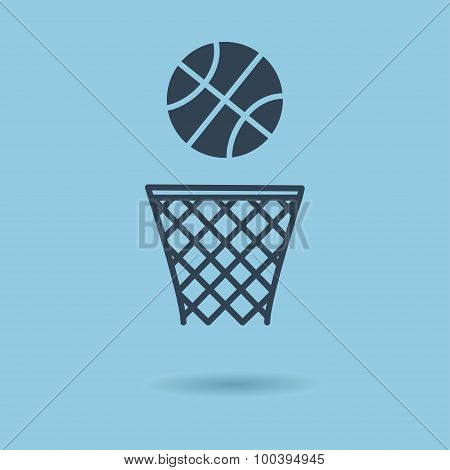 Basketball basket and ball sign icon. Sport symbol. Vector Illustration