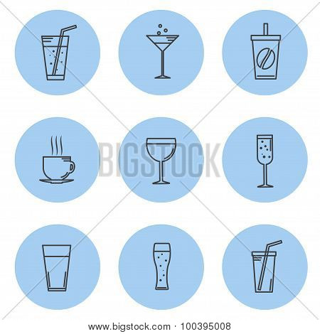 Vector illustration. Set kontturnyh lines Icon beverage and drinks