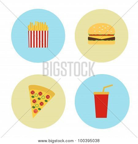 Set Icons in the circles of fast food. Vector illustration.