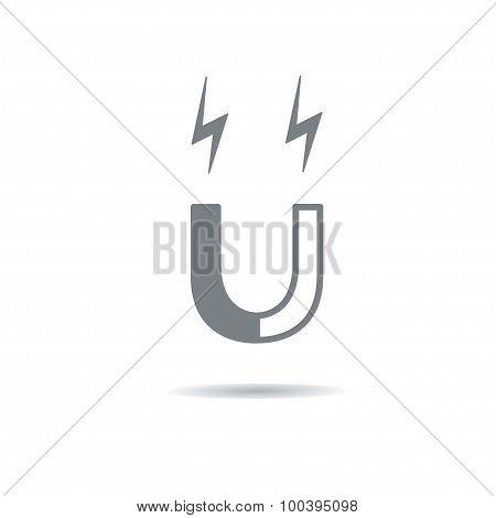 Magnet sign flat design icon. Vector illustration