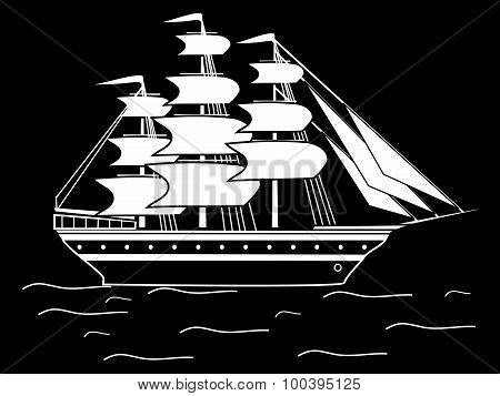 Sailing black white silhouette ship frigate retro