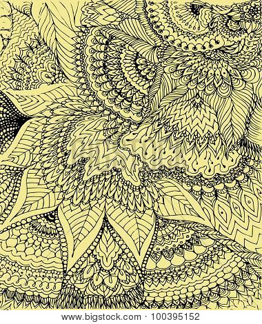 Vector Illustration Of Doodle Drawing On The Soft Yellow Background. Abstract Black Lines, Curves