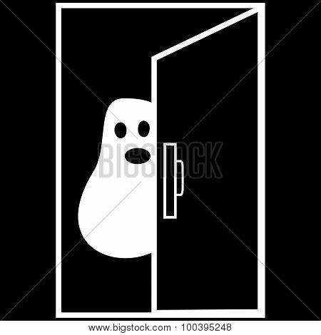 Funny Ghost Halloween nightmare behind the door