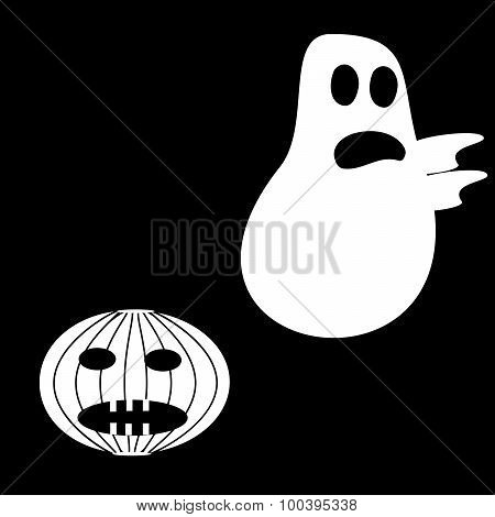 Funny Ghost Halloween scary pumpkin fright