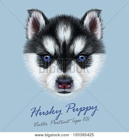 Vector Illustrative Portrait of a Husky Puppy
