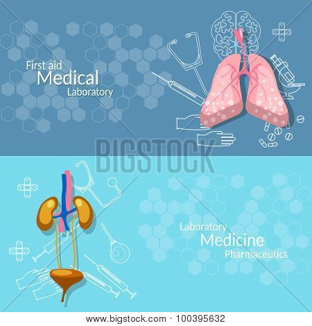 Human organs, vector banners