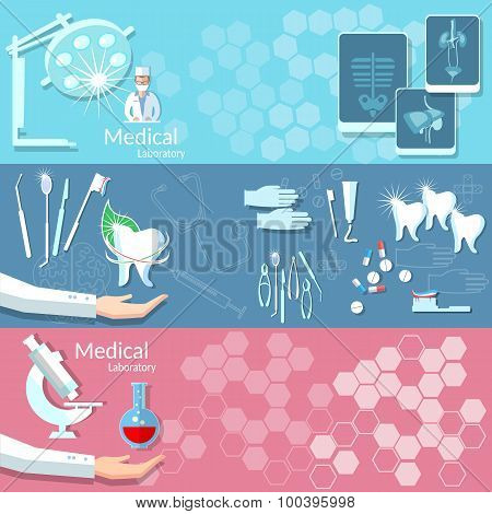 Set of Three Medical and Dental Vector Banners