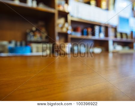Table Top Counter Bar Restaurant Background With Kitchen Shelf