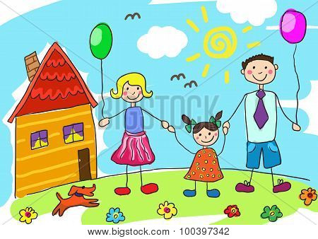 Child's drawing happy family with dog. Father, mother, daughter and their house.