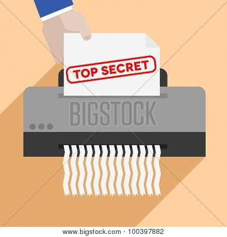 minimalistic illustration of a hand putting a letter with Top Secret text into a paper shredder, eps10 vector