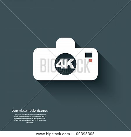 Ultra hd camera icon isolated on background