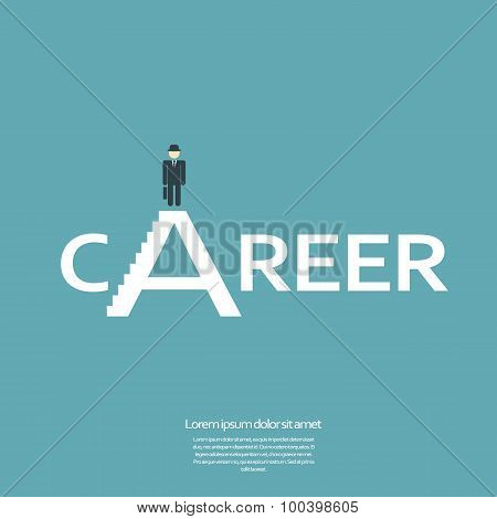 Creative job career sign with businessman on top.