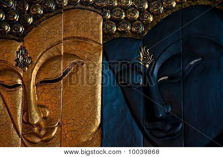 wood engrave image of buddha